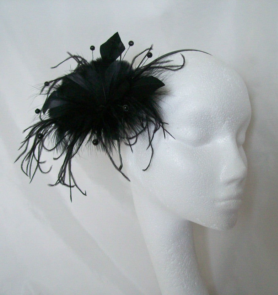 Black Suki - Goose Feather Flower and Crystal Pearl Wedding Gothic Fascinator Headpiece - Gothic Diva Wedding Designs