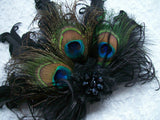 Black Daphne -Peacock & Curl Feather Lace & Crystal Vintage Style Gothic Fascinator Hair Clip - Gothic Diva Wedding Designs