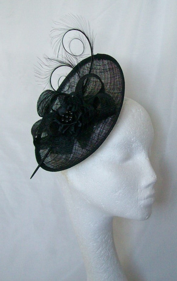 Black Pandora -Upback Saucer Sinamay Loop Curl Feather Fascinator Mini Hat - Gothic Diva Wedding Designs