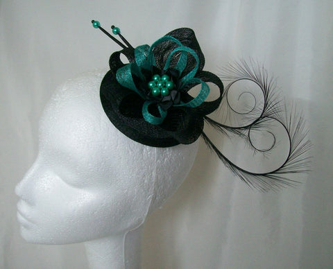 Black & Colour Highlight Delilah- Curl Feather & Sinamay Loop Fascinator Mini Hat - Gothic Diva Wedding Designs