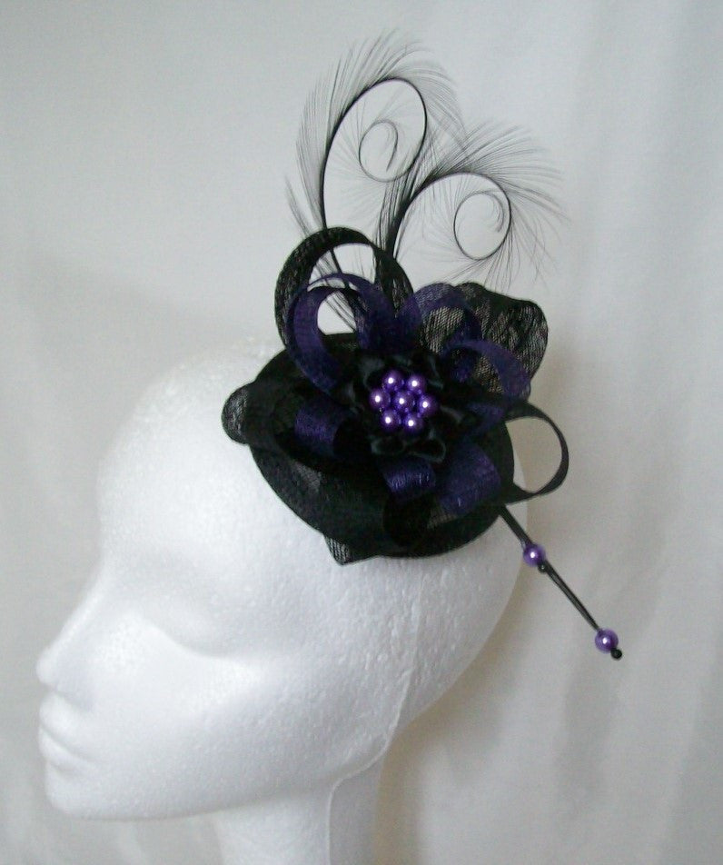 Purple & Black Delilah Gothic Glam- Pheasant Curl Feather & Sinamay Loop Fascinator Mini Hat - Gothic Diva Wedding Designs