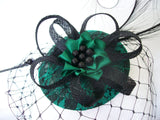 Black & Emerald Green Lace Covered Isadora Fascinator Mini Hat with Black Merry Widow Veil - Gothic Diva Wedding Designs