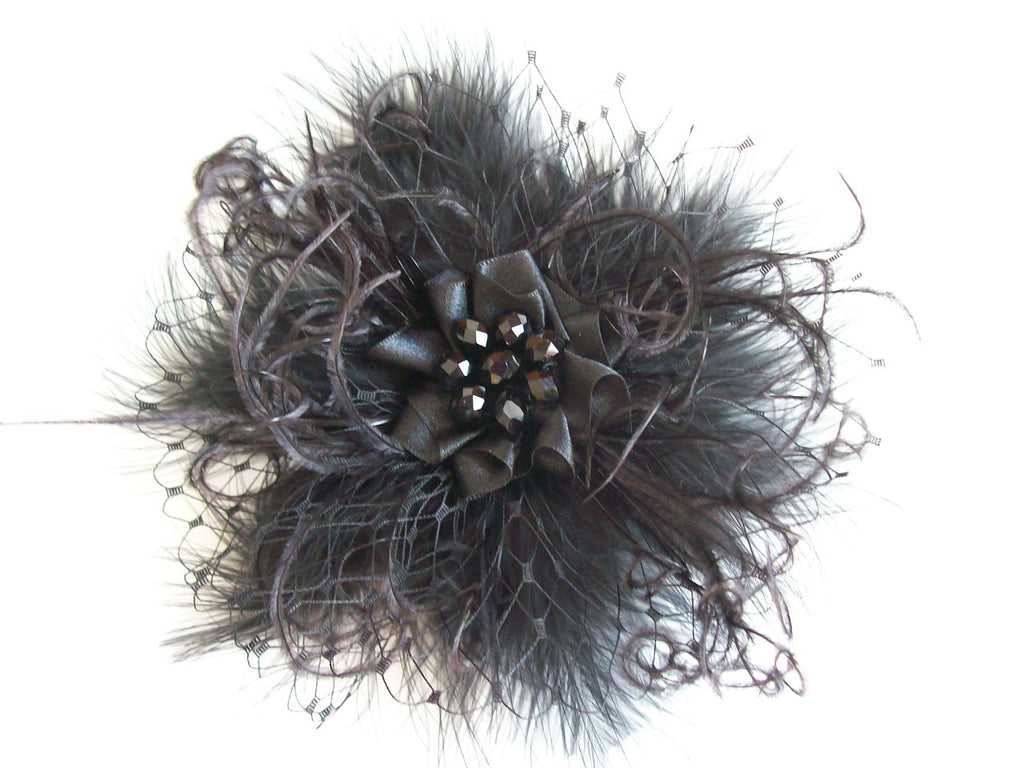 Black Fluff Feather Veil & Pearl Betsy Vintage Gothic Victorian Mini Fascinator Hair Clip