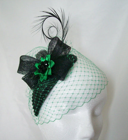 Black & Emerald Green Veiled Crystal Studded Teardrop Fascinator Percher Mini Hat Gothic - Gothic Diva Wedding Designs