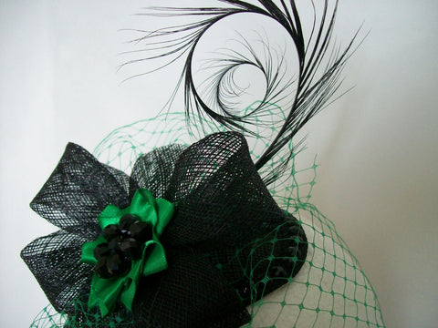 5d74e1dee1a ... Black   Emerald Green Veiled Crystal Studded Teardrop Fascinator  Percher Mini Hat Gothic - Gothic Diva