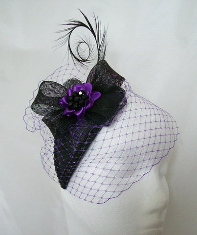 Black and Purple Veiled Crystal Studded Teardrop Gothic Mini Hat Percher Fascinator - Gothic Diva Wedding Designs
