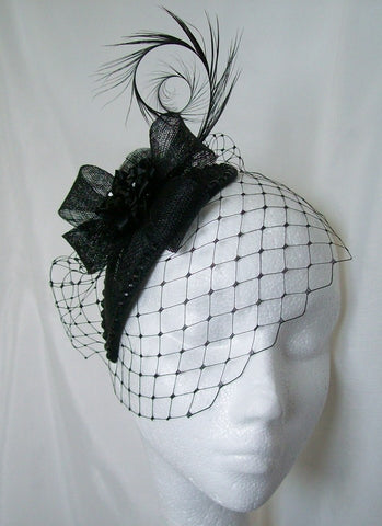 Black Veiled Crystal Studded Teardrop Fascinator Percher Mini Hat Gothic Wedding- Made To Order - Gothic Diva Wedding Designs