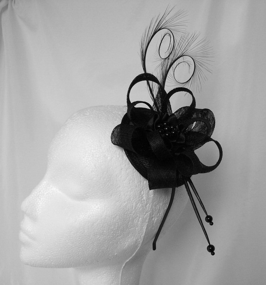 Black Delilah - Pheasant Curl Feather & Sinamay Loop Gothic Fascinator Mini Hat - Gothic Diva Wedding Designs