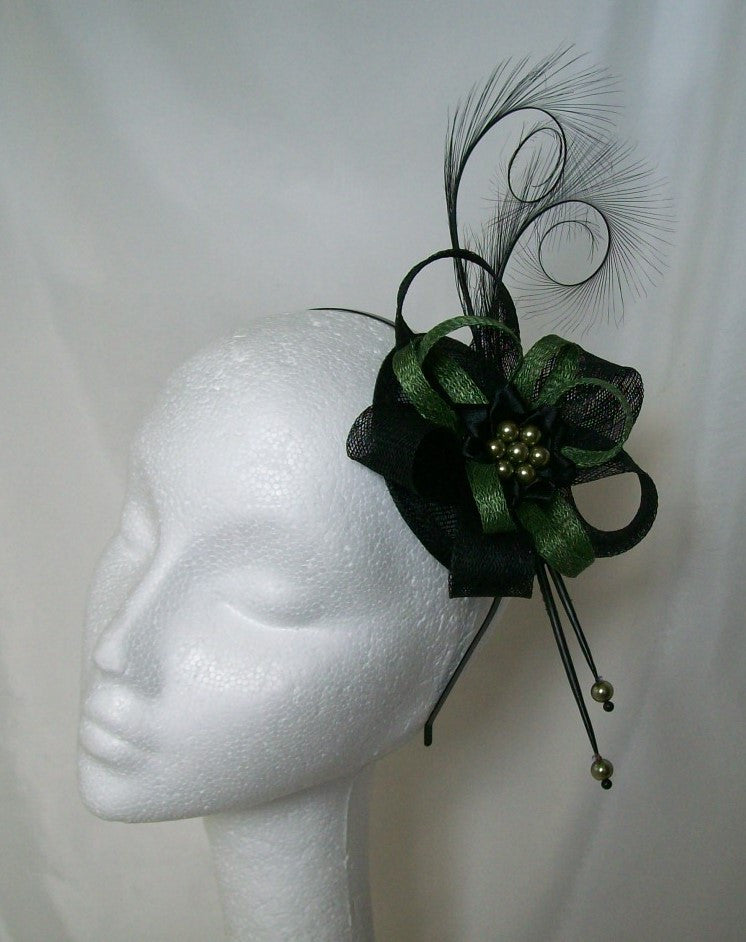 Olive Khaki Green & Black Delilah Curl Feather & Sinamay Loop Fascinator Percher Mini Hat - Gothic Diva Wedding Designs