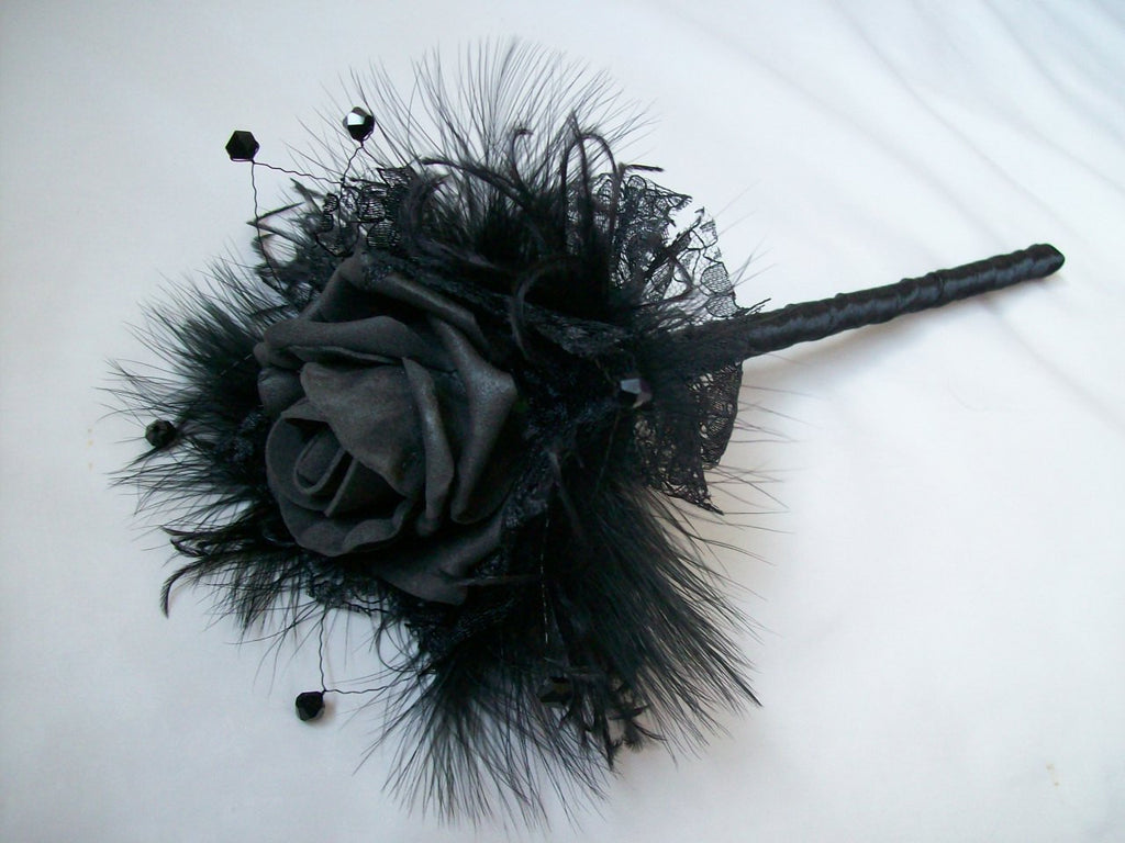 Black Rose Bud Feather Lace & Crystal Fairy Wand Gothic Wedding - Ready Made - Gothic Diva Wedding Designs