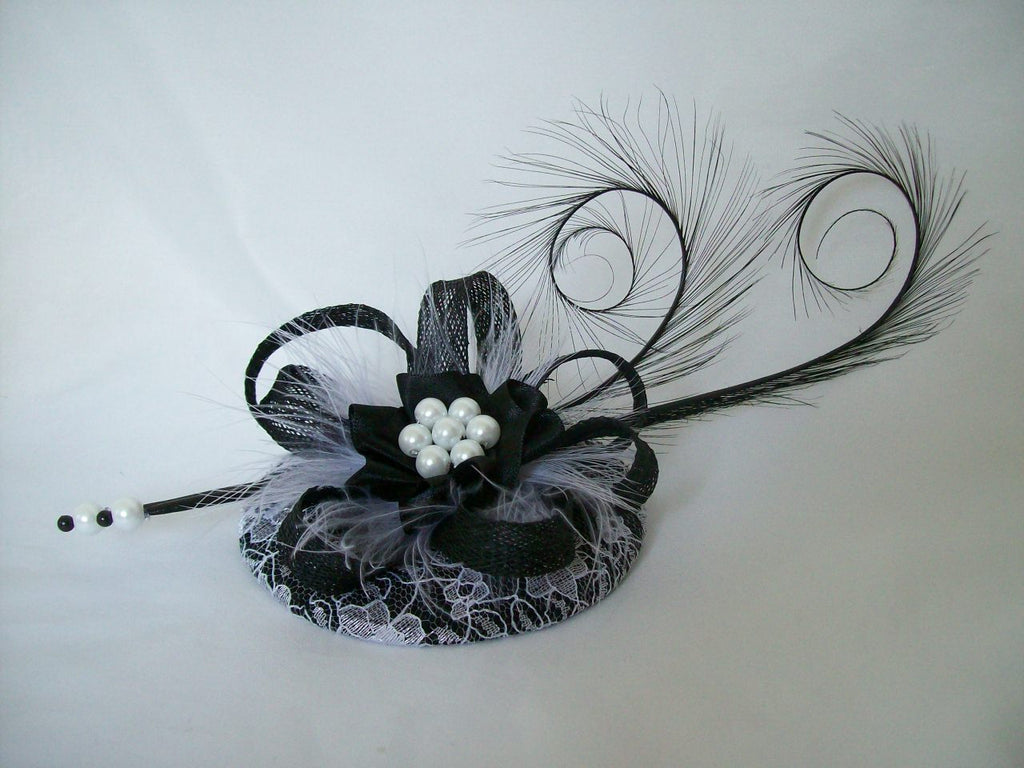 Black & White Lace Covered Isadora Curl Feathers & Pearl Monochrome Pastel Goth Fascinator Mini Hat - Gothic Diva Wedding Designs