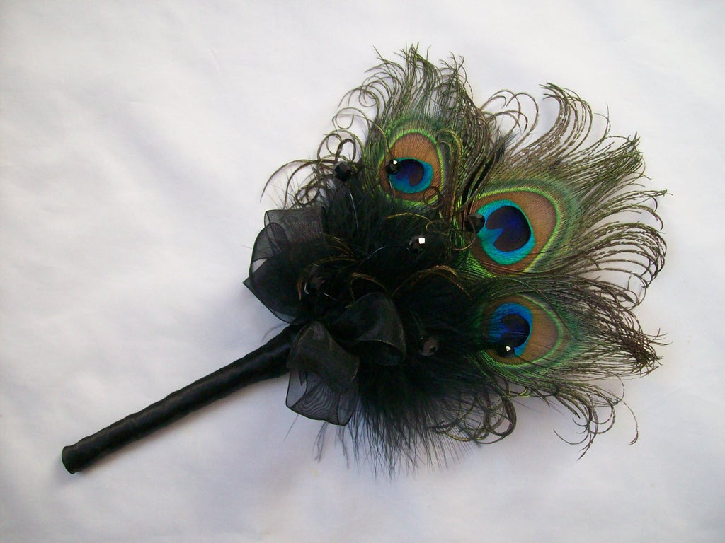 Black Peacock Feather Fairy Wand Bouquet Gothic Wedding - Made to Order - Gothic Diva Wedding Designs