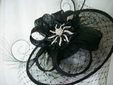 Elegant Black Veiled Sinamay Saucer Feather & Crystal Lavinia Jewel Gothic Styled Fascinator Hat - Gothic Diva Wedding Designs