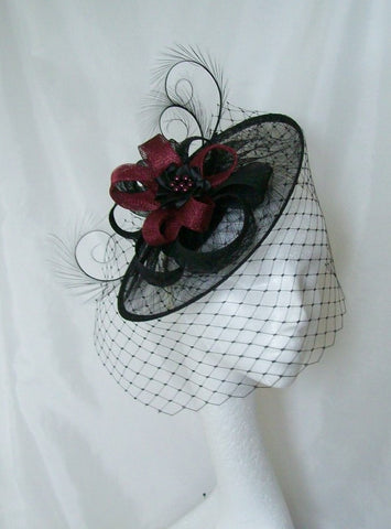Black & Burgundy Wine Dramatic Veiled Cecily Formal Saucer Wedding Gothic Fascinator Hat - Gothic Diva Wedding Designs