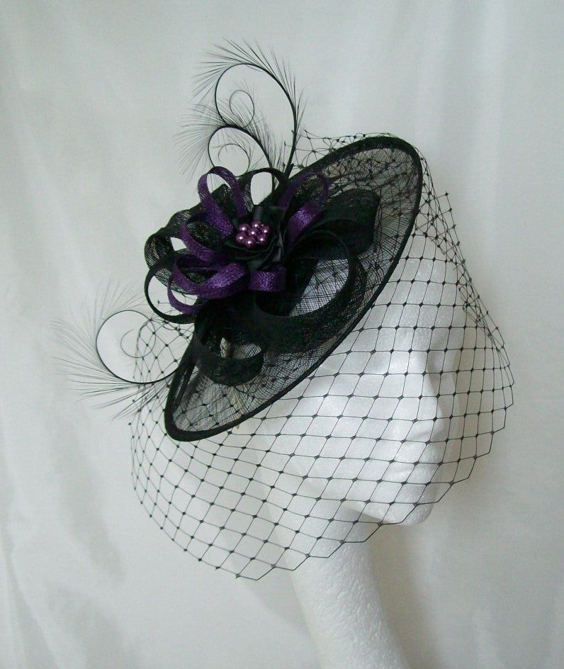 Black & Purple Dramatic Veiled Cecily Formal Saucer Wedding Gothic Fascinator Hat - Gothic Diva Wedding Designs