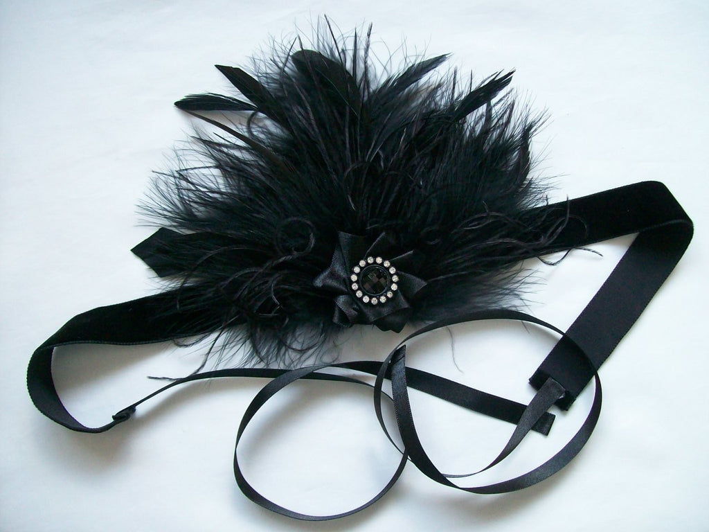 Black Ava - Mixed Feather and Pearl or Crystal 1920's Dark Flapper Style Ribbon Tie Headband - Gothic Diva Wedding Designs