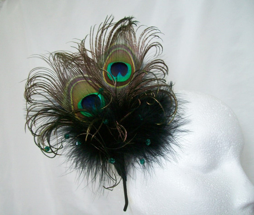 Black Victoriana -Peacock Feather & Crystal Pearl Burlesque Gothic Wedding Fascinator
