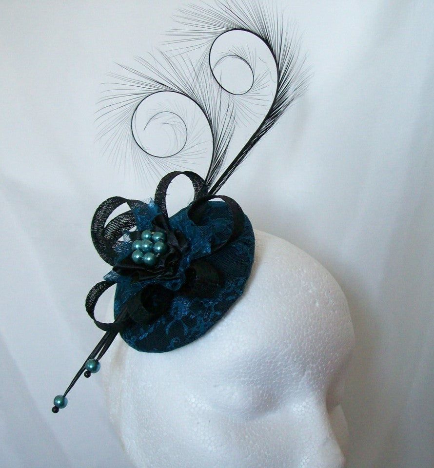 Black & Teal Blue Lace Covered Curl Feathers and Pearls Isadora Vintage Gothic Fascinator Mini Hat