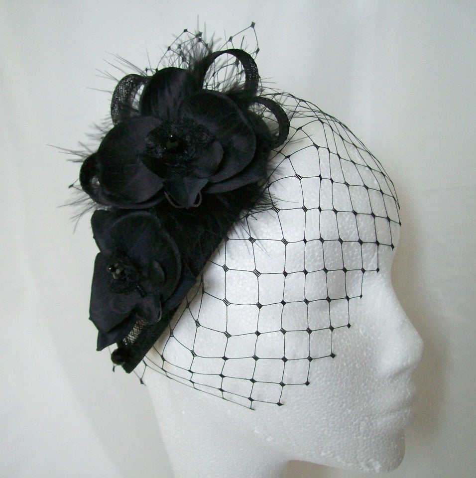 Black Merry Widow Veil Orchid Flower & Crystal Teardrop 'Charlotte' Gothic Vintage Style Wedding Fascinator Mini Hat - Made to order