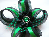 Black and Emerald Green Sinamay Loop Feather & Crystal Gothic Mini Fascinator Hair Clip - Ready Made
