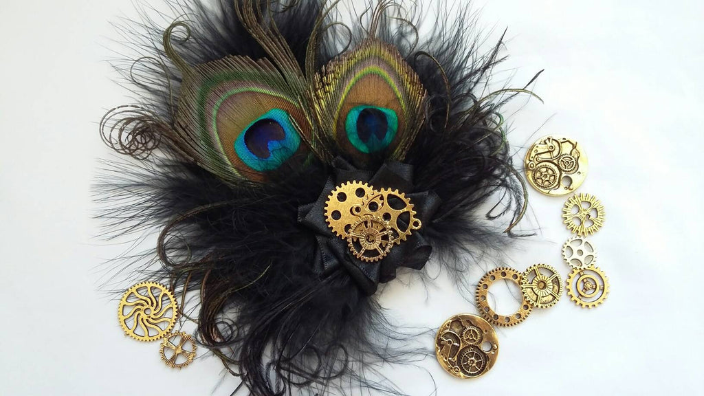 Small Black Peacock Feather with Brass or Gold Cog Gears Steampunk Style Mini Fascinator Wedding Party Hair Clip - Made to Order