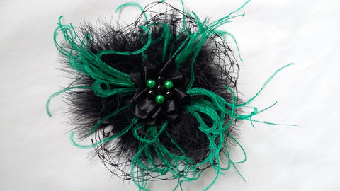 Black and Emerald Absinthe Green Feather Veil and Pearl Vintage Style Gothic Victorian Headpiece Clip Wedding Fascinator- Ready Made