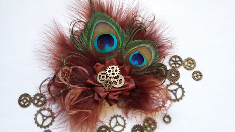 Mahogany Copper Chestnut Brown Peacock Feather and Brass Watch Cogs Gears Steampunk Rustic Mini Fascinator Hair Hat Clip - Ready Made