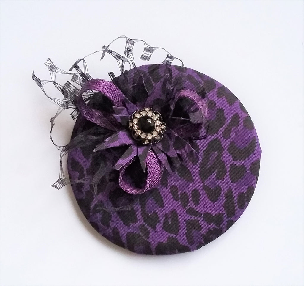 Purple & Black Leopard Print Cocktail Percher Hat Fascinator Ultraviolet Leopardprint Mini Headpiece - Wedding Vintage - Ready Made