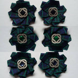 Celtic Black Watch Tartan Shoe Clips - Navy Blue and Green Tartan Plaid Shoe Clip with Silver Celtic Knot- Made to Order