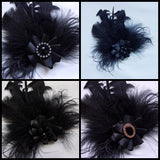 Black Feather Brooch Mixed Feather Ruffle with Pearls Crystal Corsage Buttonhole Boutonniere Hairclip Gothic Goth Victorian Wedding