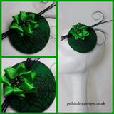 Black and Emerald Absinthe Green Cobweb Base Feather and Crystal Spider Fascinator Mini Hat - Gothic Wicked Halloween Wedding- Ready Made