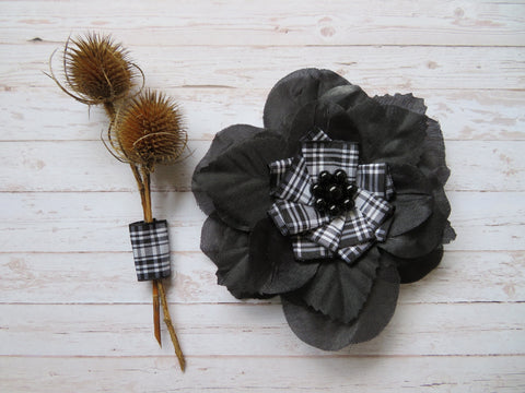 Black & White Tartan Rose Flower and Pearl Brooch Corsage Buttonhole Boutonniere Wedding Burns Night Gift - Ready Made