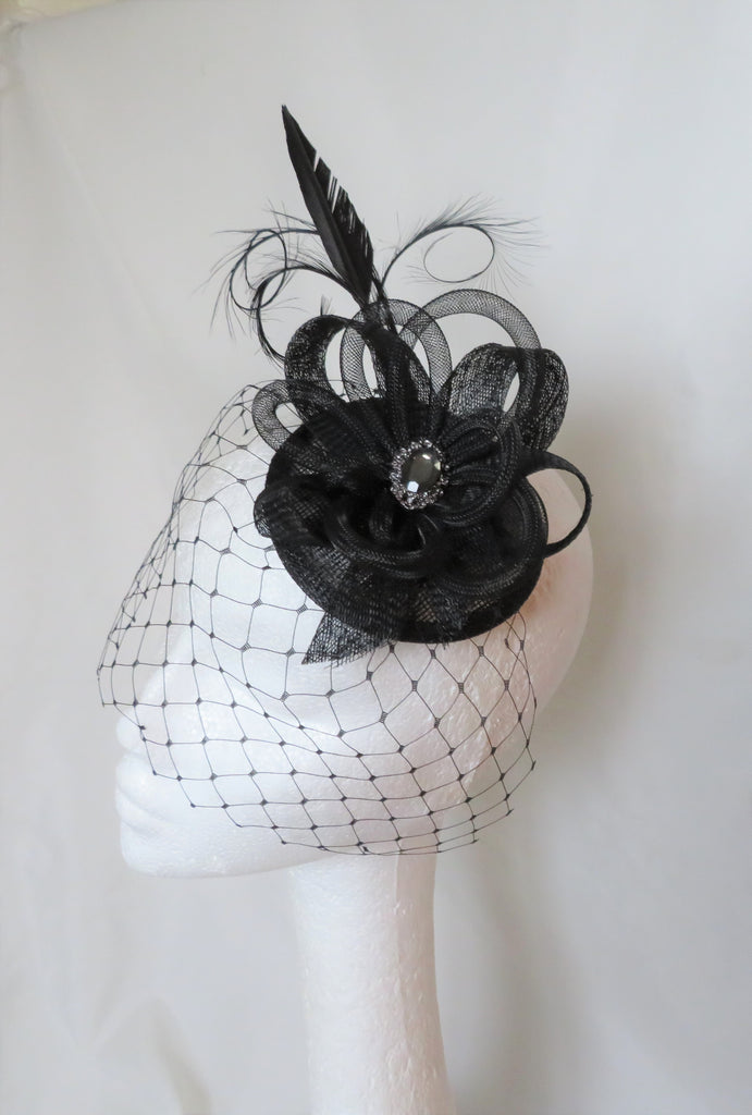 Black Veiled Fascinator Curl Feather Veil & Crinoline Loop Gothic Funeral Fascinator Cocktail Hat Wedding- Ready to Wear