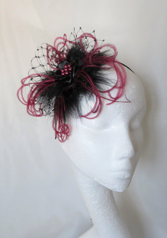 Black and Burgundy Wine Feather Veil and Pearl Vintage Style Gothic Victorian Headpiece Clip Wedding Fascinator- Made to Order