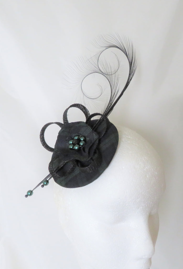 Black Watch Tartan Fascinator Black Bottle Green Curl Feather and Sinamay Highlands Wedding Burns Night - Made to Order gothic