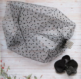 Black Spotted Spot Short Gothic Goth Bandeau Bridal Bride Halloween Wedding Veil