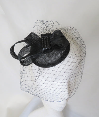 Black Sinamay Bow Fascinator Vintage Blusher Veil & Crystal Gothic Wedding Funeral Mini Hat Headpiece - Ready Made