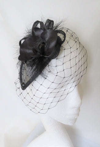 Black Orchid Fascinator Vintage Merry Widow Blusher Veil Flower & Crystal Gothic Wedding Funeral Mini Hat Headpiece - Ready Made