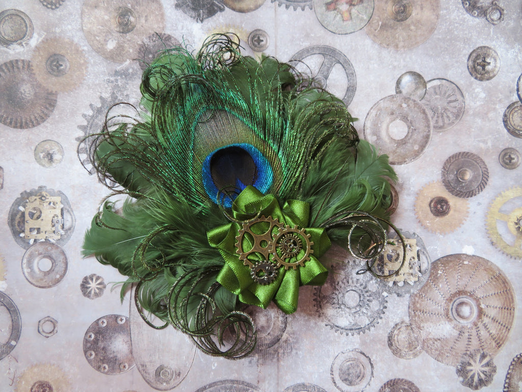 Olive Khaki Green Peacock Feather Cogs Steampunk Hair Clip Fascinator Wedding
