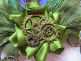 Olive Khaki Green Peacock Feather Cogs Steampunk Hair Clip Fascinator Wedding brass cogs