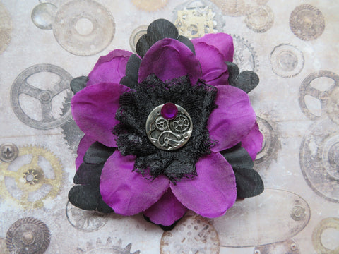 Amethyst Purple & Black Rose Flower Steampunk Brooch Corsage Buttonhole Wedding Gift