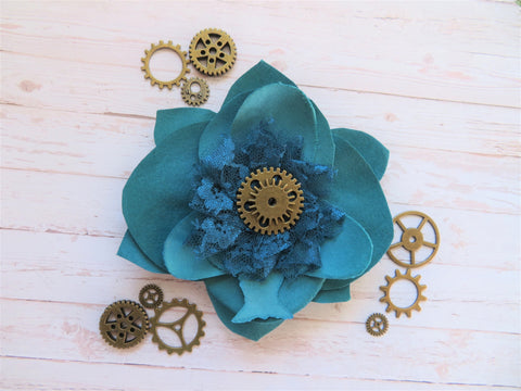 Teal Turquoise Blue Flower Steampunk Cog Brooch Corsage Buttonhole Wedding Gift