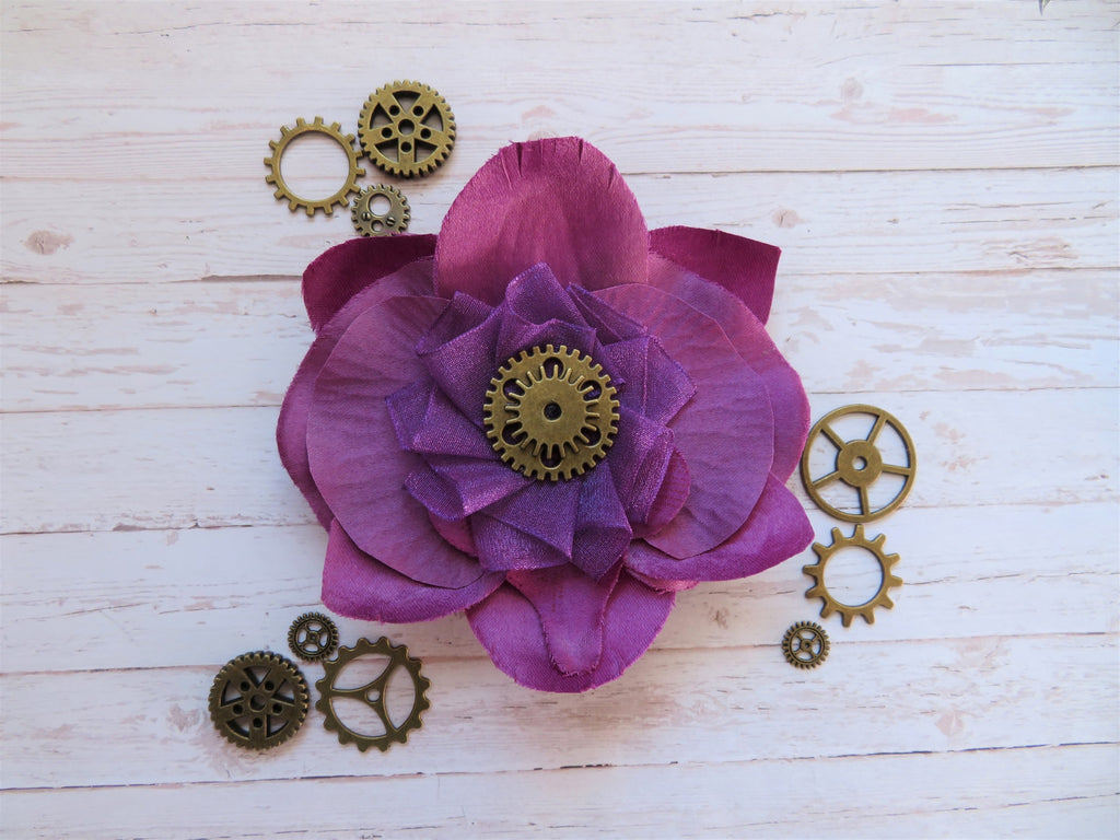 Amethyst Purple Plum Flower Steampunk Cog Brooch Corsage Buttonhole Wedding Gift