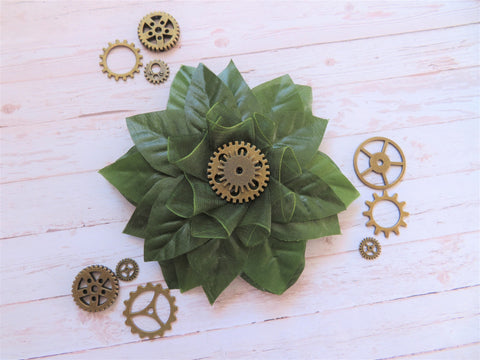 Moss Green Steampunk Brooch
