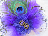 Dark Purple Peacock Feather Steampunk Brooch Buttonhole Corsage with Brass Cogs