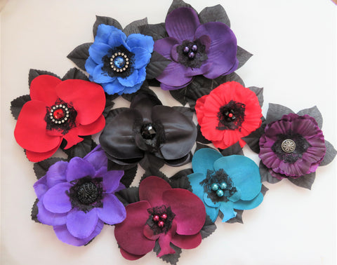 Gothic Vintage Rockabilly Hair Flowers - Purple Sapphire Black Burgundy Amethyst Teal Flower Clip Fascinator Clips - Ready to Wear