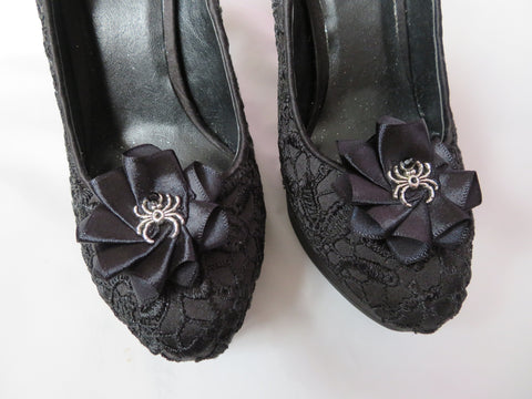 Black Spider Shoe Clips Small Gothic Charm Satin Ruffle Shoeclips with Silver Spider Wedding Halloween - Made to Order
