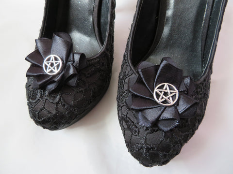 Black Pentagram Shoe Clips Small Gothic Charm Satin Ruffle Shoeclips with Silver Pentagrams Witch Magic Wedding Halloween - Made to Order