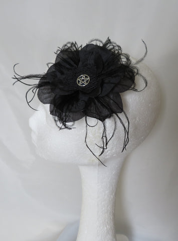 Black Rose Flower Pentagram Witch Gothic Halloween Hair Clip Fascinator Wedding