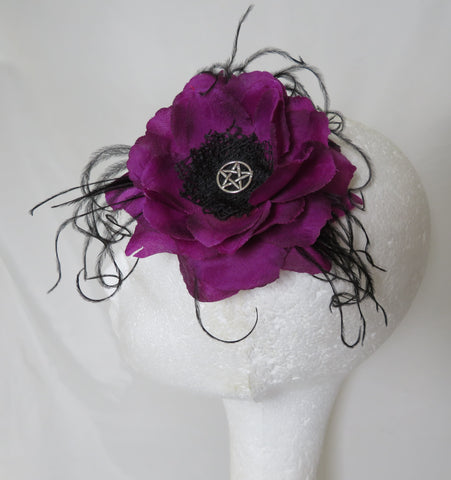 Amethyst Purple Black Rose Pentagram Witch Gothic Hair Clip Fascinator Wedding